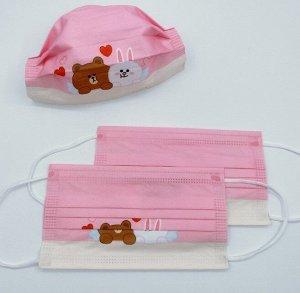 """Набор детских защитных масок, 50 штук, принт """"Мишка и зайка с сердечками"""", цвет розовый"""