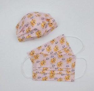 """Набор детских защитных масок, 50 штук, принт """"Девушка в желтом костюме"""", цвет розовый"""