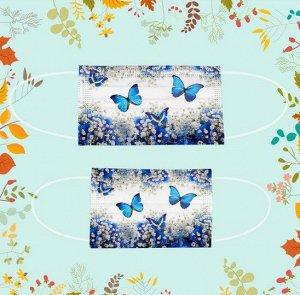 """Набор детских защитных масок, 50 штук, принт """"Белые цветы и синие бабочки"""", цвет синий/белый"""