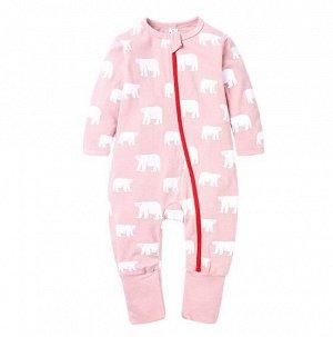 """Детский комбинезон, на молнии, с длинным рукавом, принт """"Белые медведи"""", цвет розовый"""