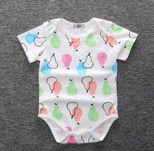 """Детский боди, с коротким рукавом, принт """"Разноцветные груши"""", цвет белый/розовый/оранжевый/зеленый"""