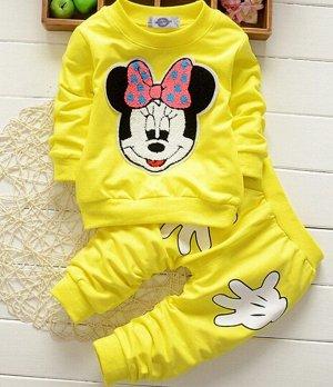 """Костюм для девочки, свитшот и штаны, принт """"Мышка с бантом"""", цвет желтый"""