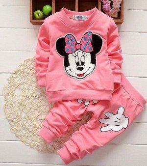 """Костюм для девочки, свитшот и штаны, принт """"Мышка с бантом"""", цвет розовый"""