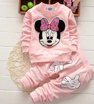 """Костюм для девочки, свитшот и штаны, принт """"Мышка с бантом"""", цвет нежно-розовый"""
