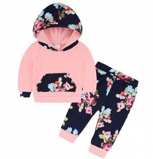 """Костюм для девочки, толстовка и штаны, принт """"Цветы"""", цвет черный/розовый"""