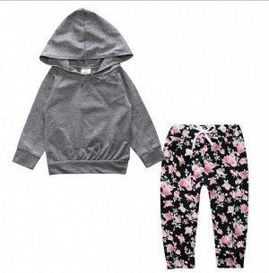 """Костюм для девочки, толстовка и штаны, принт """"Цветы"""" на штанах, цвет черный/серый"""
