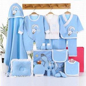 """Подарочный набор для новорожденного, принт """"Белый кролик"""", цвет голубой"""