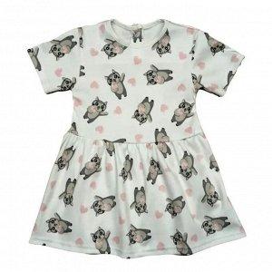 Платье 7098/6 кошечки на белом