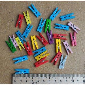 Прищепки декоративные цвет микс  2.5 см набор 20шт