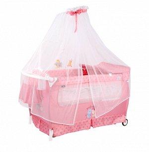 Кровать-Манеж Lorelli Sleep'N'Dream rocker розовый/ Pink Hippo 2076