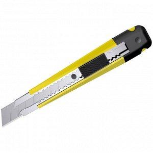 """Нож канцелярский 18 мм Berlingo """"Hyper"""" + лезвия сменные 10шт, желтый, европодвес"""