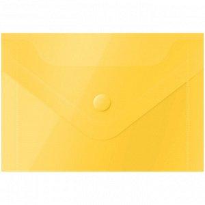Папка-конверт на кнопке OfficeSpace, А7 (74*105мм), 150мкм, желтая