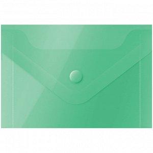 Папка-конверт на кнопке OfficeSpace, А7 (74*105мм), 150мкм, зеленая