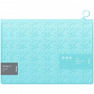 """Папка-конверт на молнии Berlingo """"Starlight S"""", 200мкм, зеленая, с рисунком"""