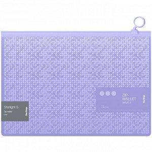 """Папка-конверт на молнии Berlingo """"Starlight S"""", 200мкм, фиолетовая, с рисунком"""