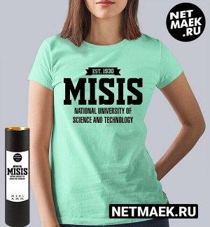 Женская футболка мисис российский технический университет misis (принт по английски), цвет ментол