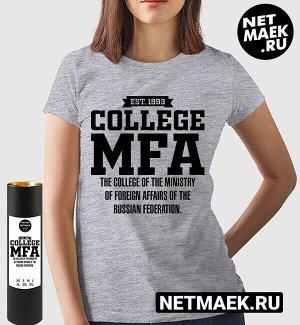 Женская футболка колледж мид россии колледж министерства иностранных дел российской федерации mfa ( принт по английски), цвет серый меланж