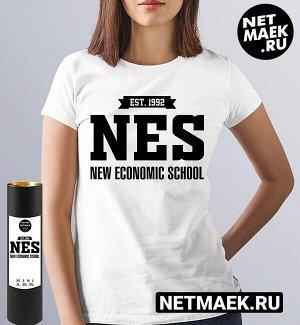 Женская футболка рэш российская экономическая школа nes (принт по английски), цвет белый