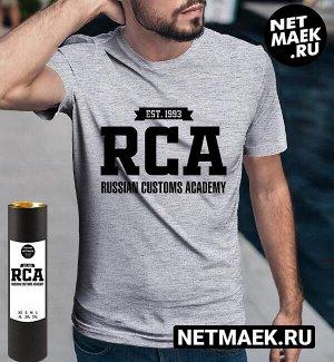 Футболка рта российская таможенная академия rca ( принт по английски), цвет серый меланж