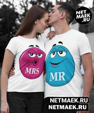 Женская футболка из комплекта парные футболки для двоих ммдемс (принт женский) - модель женская/ цвет - белый - размер - xs (40-42)