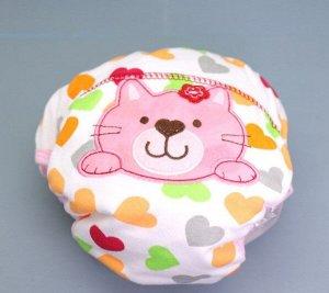 """Детские многослойные трусы, принт """"Розовый кот и сердца"""", цвет белый/оранжевый/зеленый"""