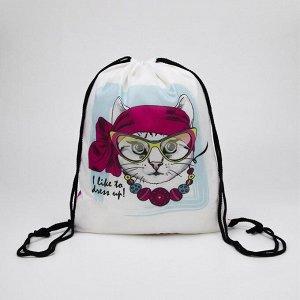 Мешок для обуви, отдел на шнурке, цвет белый/розовый, «Кошка»