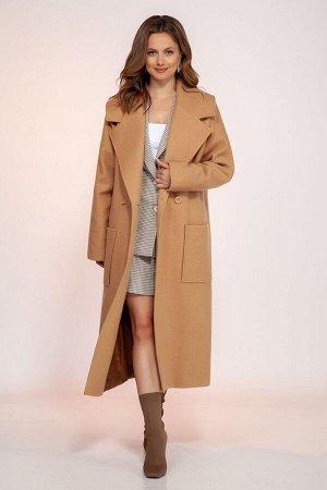 Пальто Пальто DilanaVIP 1766 песочный  Состав: ПЭ-70%; Шерсть-30%; Сезон: Осень-Зима Рост: 164  Пальто женское, прямого силуэта, длинной ниже линии колена. Пальто со спущенной линией плечевого пояса