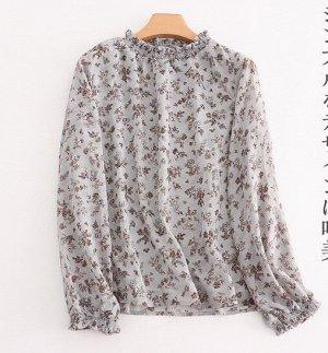 """Женская блуза с длинным рукавом, принт """"Цветы"""""""