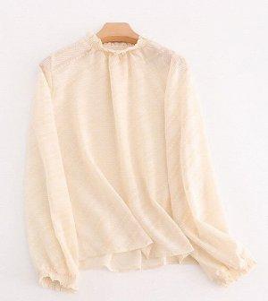 Женская блуза с длинным рукавом, цвет абрикосовый