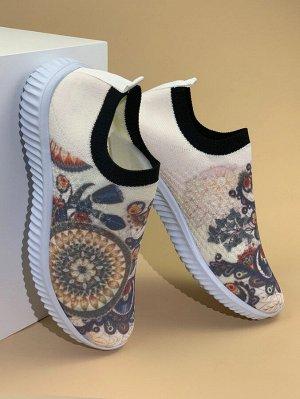 Трикотажные кроссовки с принтом