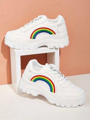 Кроссовки на платформе с вышивкой радуги