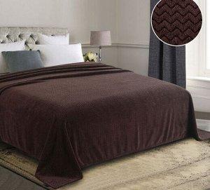Плед из Велсофта Евро Горький шоколад, мелкий зигзаг 200*220 см