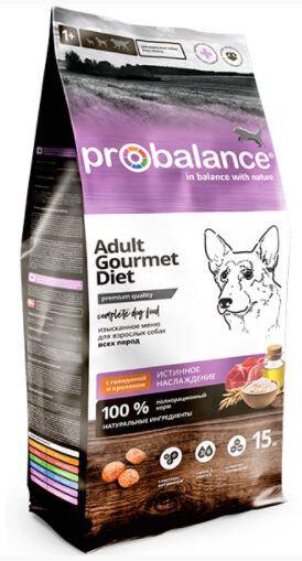 ProBalance Gourmet diet Adult сухой корм для привередливых собак Говядина/Кролик 15кг