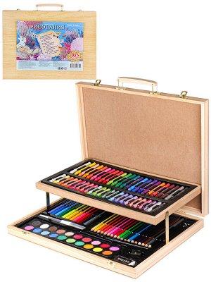 Набор для художника, Морские обитатели 103 предметов, деревян. кейс НХ-4870
