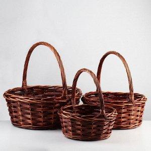 Набор корзин плетёных, ива, 3 шт., коричневый цвет, высокие