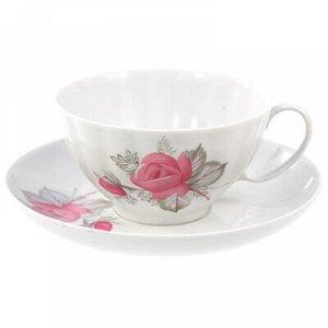 """Чашка чайная фарфоровая """"Дикая роза"""" 275мл, д10см, h5,5см"""
