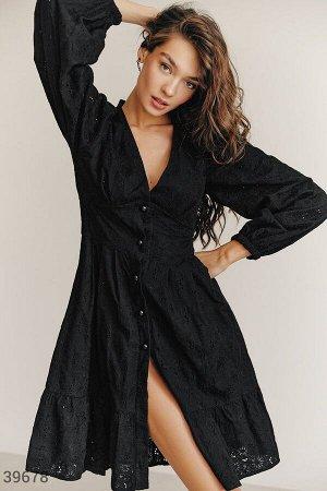 Черное платье из хлопка