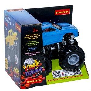 """Инерц.пласт. джип 4WD со светящ. в темноте корпусом, Bondibon """"Парк Техники"""", цвет синий, ВОХ 14х11х"""