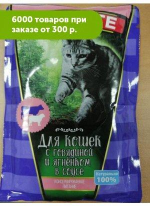 Appetite влажный корм для кошек Говядина и ягненок в соусе 100гр пауч