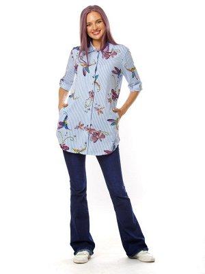 Туника-рубашка женская Колибри (кулирка)