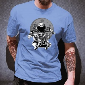 """Мужская футболка, принт """"Космонавт на скейтборде"""", цвет серо-голубой"""