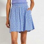 Расклешенная юбка с рисунком - голубой