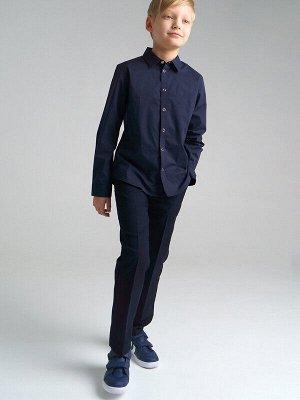 Рубашка Состав: 65% хлопок, 32% полиэстер, 3% эластан Цвет: тёмно-синий Год: 2021 *Рубашка текстильная с высоким содержанием хлопка *размер изделия на фото - 140, параметры модели (см): рост 143, об