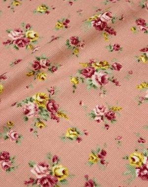 """БРАК (цена снижена) Микровельвет """"Розово-желтые букеты роз на пыльной розе"""", шир.1.1м"""