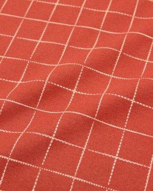 Теплый хлопок Клетка на красно-терракотовом, ВИД2, шир.1.48 м, хлопок-100%, 160 гр/м.кв