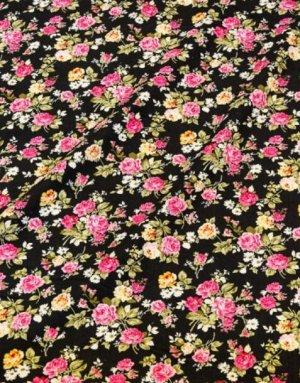 """Микровельвет """"Розово-желтые букеты роз на черном"""", ш.1,1м, хлопок-100%, 140гр/м.кв"""