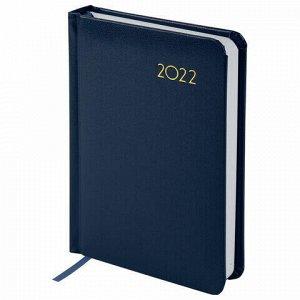 "Ежедневник датированный 2022 МАЛЫЙ ФОРМАТ 100х150 мм А6, BRAUBERG ""Select"", балакрон, темно-синий, 112924"