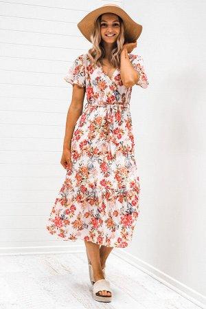 Белое платье миди с V-образным вырезом и разноцветным цветочным принтом