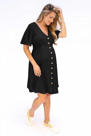 Черное платье для беременных с V-образным вырезом на пуговицах с расклешенными рукавами