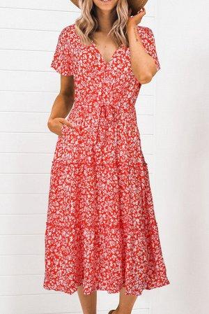 Красное платье миди с V-образным вырезом и цветочным принтом
